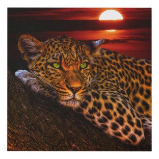 Leopardo con puesta del sol cuadro