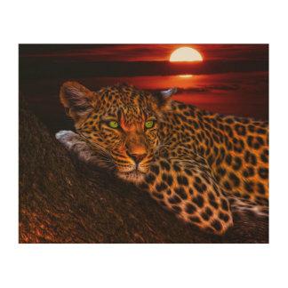 Leopardo con puesta del sol cuadro de madera