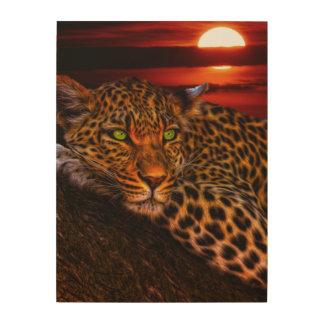 Leopardo con puesta del sol cuadros de madera