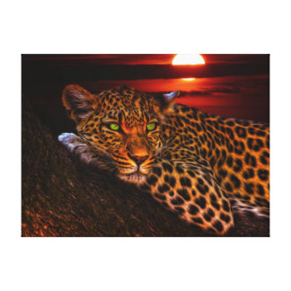 Leopardo con puesta del sol impresión en lienzo
