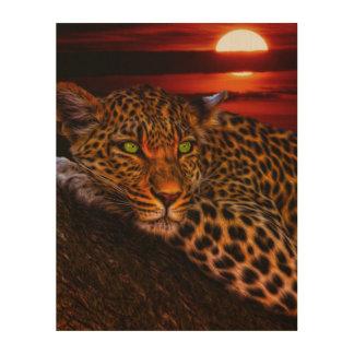 Leopardo con puesta del sol impresión en madera