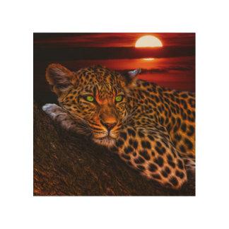 Leopardo con puesta del sol impresiones en madera