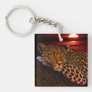Leopardo con puesta del sol llavero cuadrado acrílico a doble cara