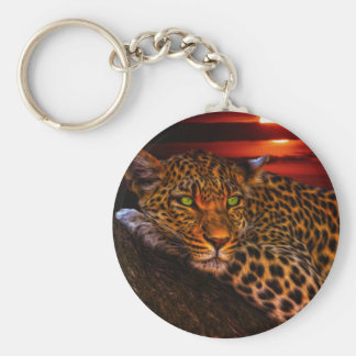 Leopardo con puesta del sol llavero redondo tipo pin