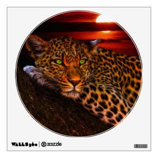 Leopardo con puesta del sol vinilo