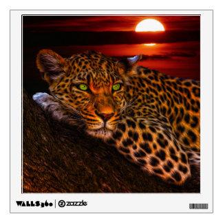 Leopardo con puesta del sol vinilo adhesivo