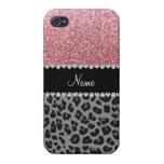 Leopardo conocido del negro del brillo del rosa en iPhone 4 carcasas