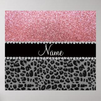 Leopardo conocido del negro del brillo del rosa en poster