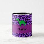 Leopardo conocido personalizado de la púrpura de D Tazas De Café