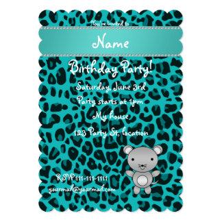 Leopardo conocido personalizado de la turquesa del invitación 12,7 x 17,8 cm