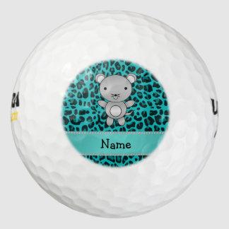 Leopardo conocido personalizado de la turquesa del pack de pelotas de golf