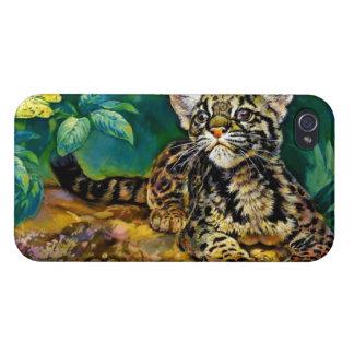 Leopardo Cub del vintage iPhone 4 Carcasas