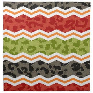 Leopardo de color topo, rojo, verde, y anaranjado servilletas de papel