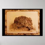 Leopardo de consumición por el cepillo de Erik Poster