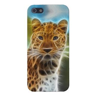Leopardo de Fractalius iPhone 5 Fundas