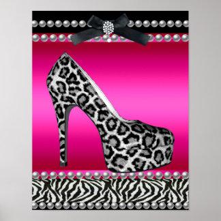 Leopardo de la cebra de 4 de Stephanie rosas fuert Póster