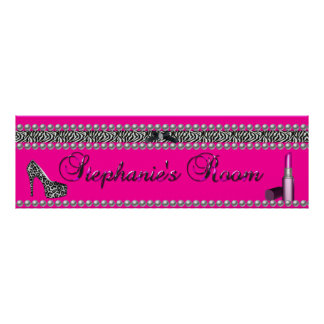 Leopardo de la cebra del lápiz labial de las rosas póster