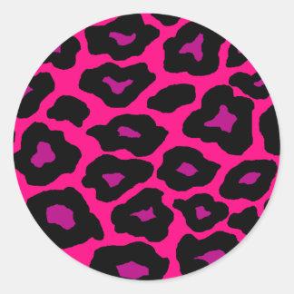 Leopardo de la MOD Etiqueta Redonda