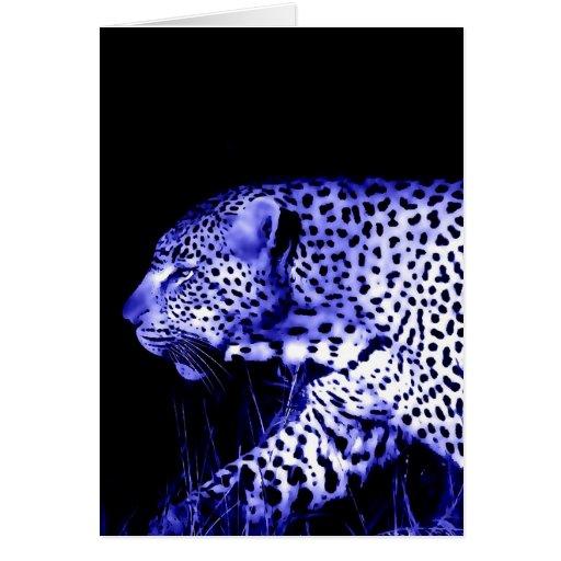 Leopardo de la noche tarjeta de felicitación
