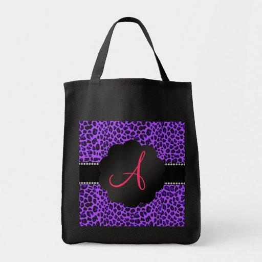 Leopardo de la púrpura del monograma bolsa