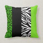 Leopardo de la verde lima y estampado de animales  almohadas