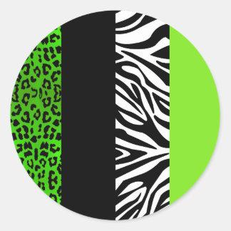 Leopardo de la verde lima y estampado de animales etiqueta redonda