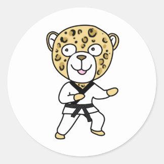Leopardo de los artes marciales pegatinas redondas