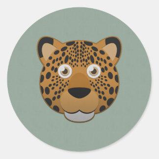Leopardo de papel pegatina redonda