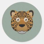 Leopardo de papel pegatinas redondas