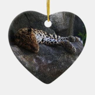 Leopardo Adorno De Cerámica En Forma De Corazón