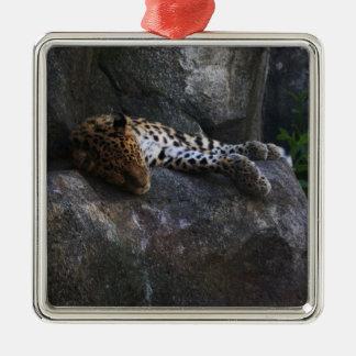 Leopardo Adorno Cuadrado Plateado