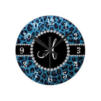 Leopardo del brillo del azul de cielo del reloj redondo mediano