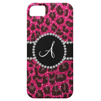 Leopardo del brillo del rosa color de rosa del iPhone 5 funda