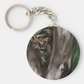 leopardo del escondite del pis-ka-abucheo llavero redondo tipo pin