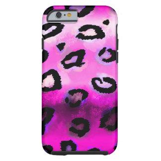Leopardo del Grunge de las rosas fuertes Funda De iPhone 6 Tough