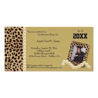 Leopardo del oro e invitación a juego de las perla tarjeta fotografica personalizada