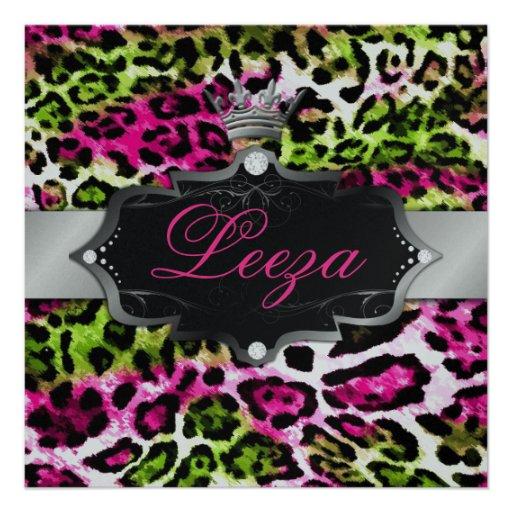 leopardo del rosa de la cal de la princesa 311-Bar Invitaciones Personalizada