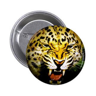 Leopardo del rugido pin redondo de 2 pulgadas