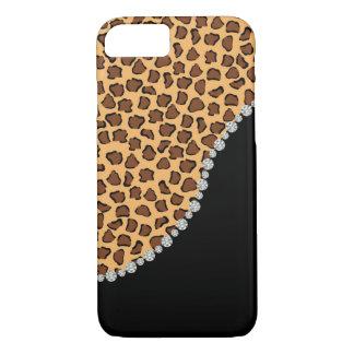 Leopardo, diamante, y caja negra del iPhone 7 Funda iPhone 7