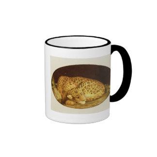 Leopardo el dormir, 1777 (esmalte en la galleta taza de café