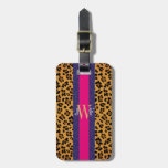Leopardo elegante moderno del estampado de animale etiquetas maleta