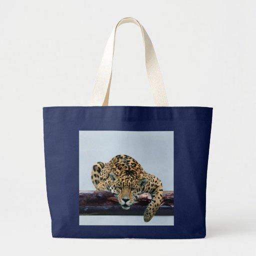 Leopardo en el árbol 1 bolsa tela grande