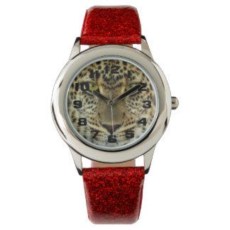 Leopardo feroz relojes de pulsera