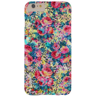Leopardo floral de las acuarelas de los rosas funda de iPhone 6 plus barely there