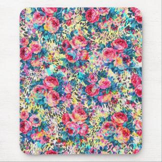 Leopardo floral de las acuarelas de los rosas tapetes de ratón