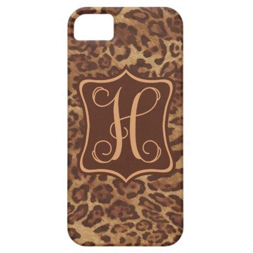 Leopardo H - Brown del chocolate iPhone 5 Fundas