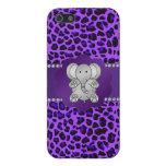 Leopardo lindo de la púrpura del elefante iPhone 5 carcasas