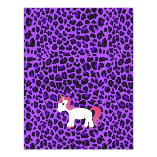 Leopardo lindo de la púrpura del unicornio tarjetones