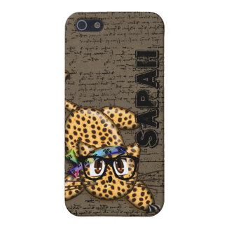 Leopardo lindo del animado con la cubierta del iPh iPhone 5 Protector