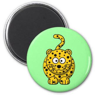 Leopardo lindo del dibujo animado iman de frigorífico